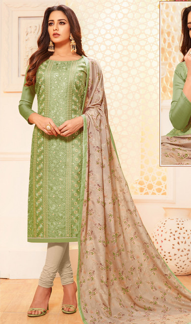 Pastel Green Color Satin Silk Embroidered Churidar Dress