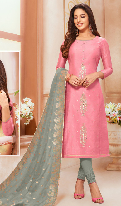 Modal Baby Pink Color Silk Churidar Dress