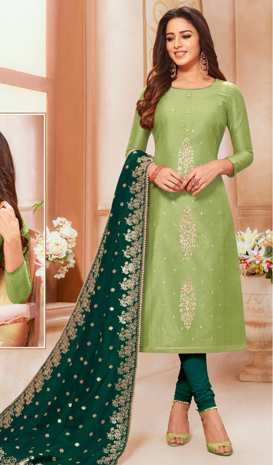 Light Green Color Modal Silk Churidar Dress