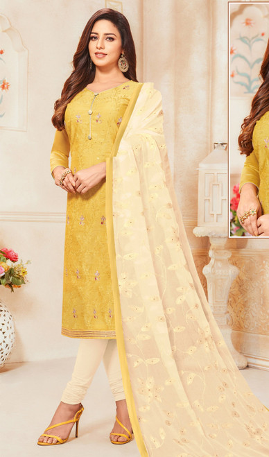 Lemon Yellow Color Modal Silk Churidar Dress