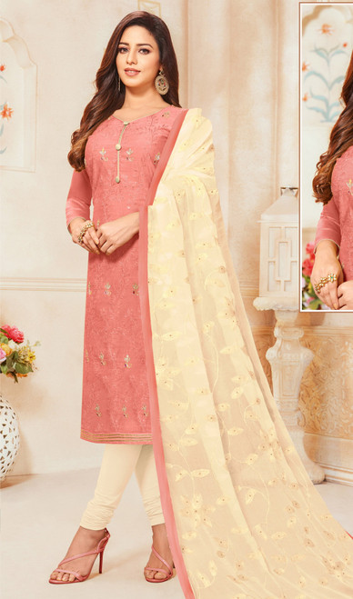 Dusty Pink Color Modal Silk Churidar Dress