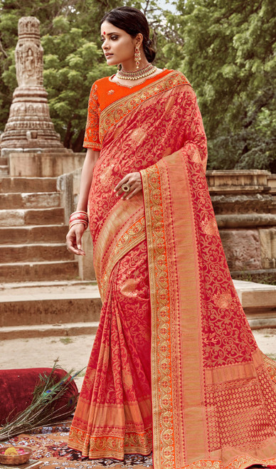 Jacquard Silk Embroidered Sari in Red Color
