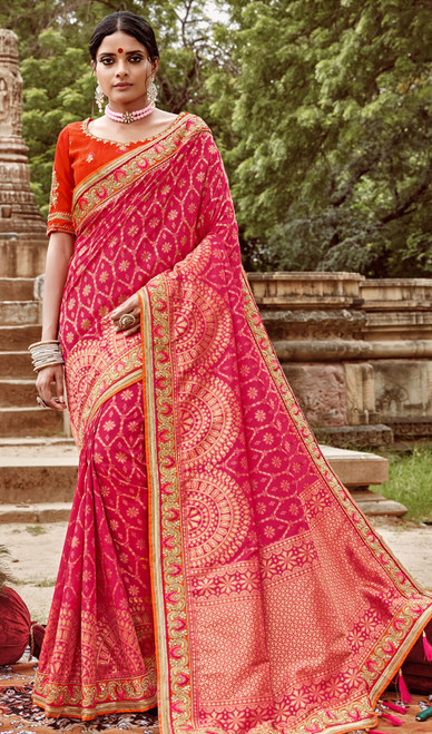 Jacquard Silk Embroidered Sari in Rani Pink Color