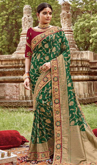 Jacquard Silk Embroidered Sari in Bottle Green Color