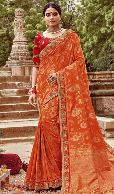 Jacquard Silk Embroidered Sari in Orange Color
