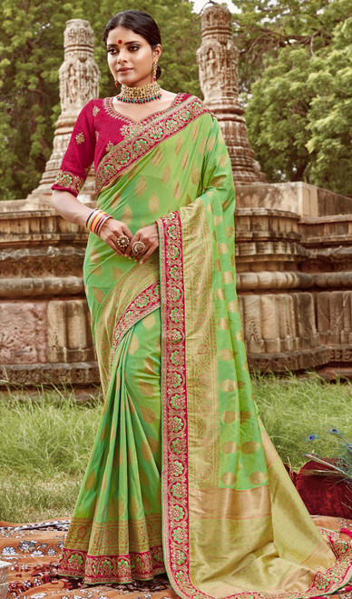 Jacquard Silk Embroidered Sari in Light Green Color