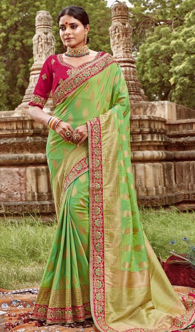 Jacquard Silk Embroidered Sari in Light Green Color