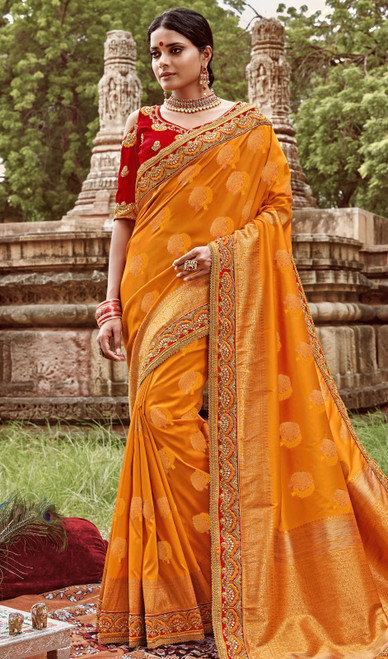 Jacquard Silk Embroidered Sari in Mustard Yellow Color