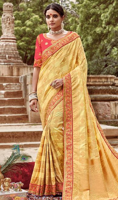 Jacquard Silk Embroidered Sari in Lemon Yellow Color
