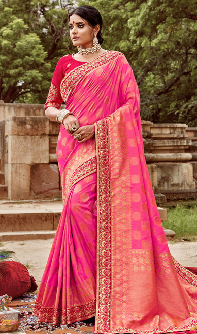 Jacquard Silk Embroidered Sari in Baby Pink Color