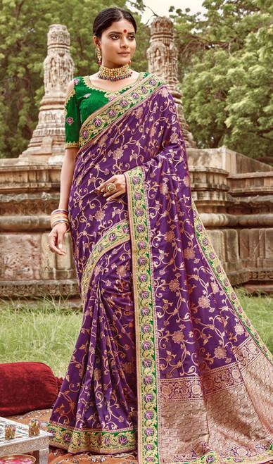 Jacquard Silk Embroidered Sari in Purple Color