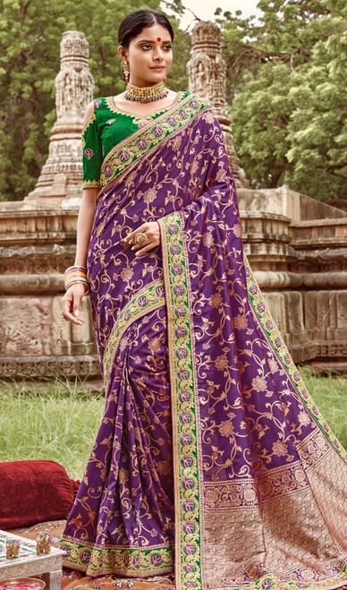 Jacquard Silk Embroidered Sari in Purple Color
