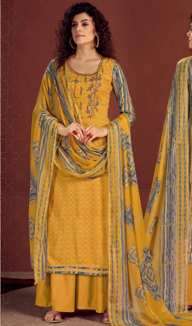Rayon Embroidered Palazzo Suit in Yellow Color