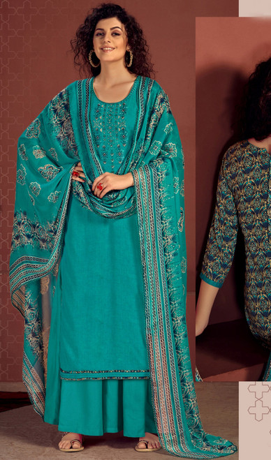Rayon Embroidered Palazzo Suit in Rama Color