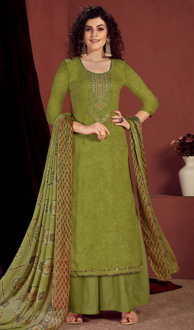 Rayon Embroidered Palazzo Suit in Olive Green Color