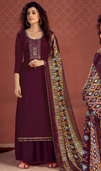 Rayon Embroidered Palazzo Suit in Wine Color