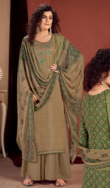 Rayon Embroidered Palazzo Suit in Beige Color