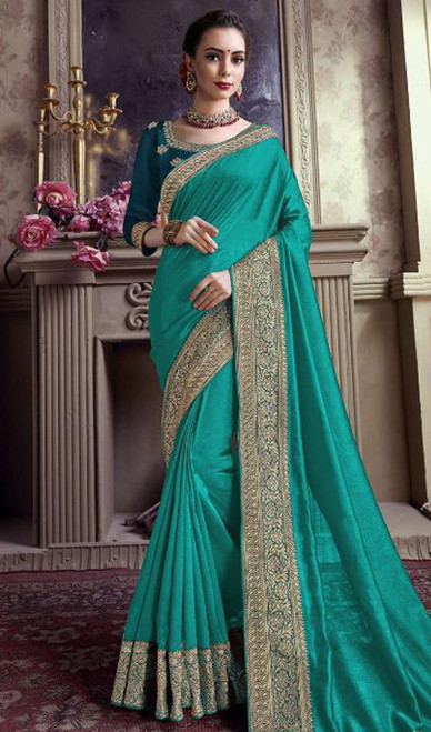 Rama Color Satin Silk Embroidered Sari