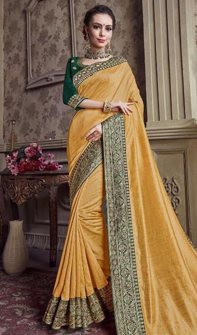 Yellow Color Satin Silk Embroidered Sari