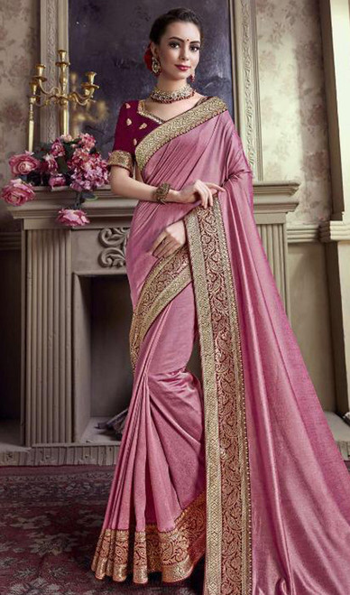 Baby Pink Color Satin Silk Embroidered Sari