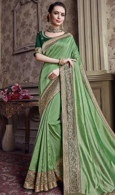 Olive Green Color Satin Silk Embroidered Sari