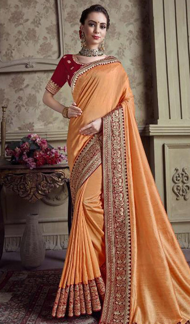 Orange Color Satin Silk Embroidered Sari