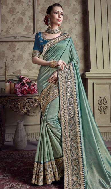 Two Tone Blue Color Satin Silk Embroidered Sari