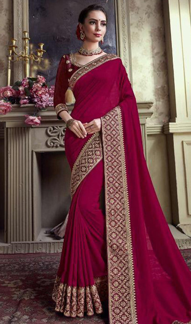 Violet Color Satin Silk Embroidered Sari