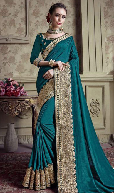 Teal Green Color Satin Silk Embroidered Sari