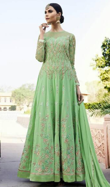Light Green Color Embroidered Georgette Anarkali Suit