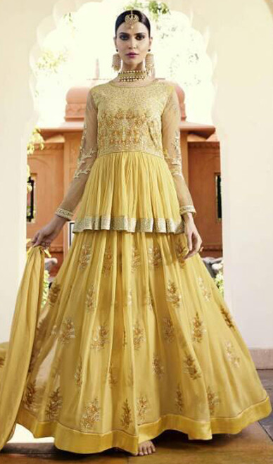 Yellow Color Embroidered Georgette Lehenga Suit