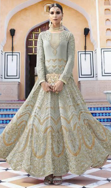 Embroidered Georgette Anarkali Suit in Gray Color