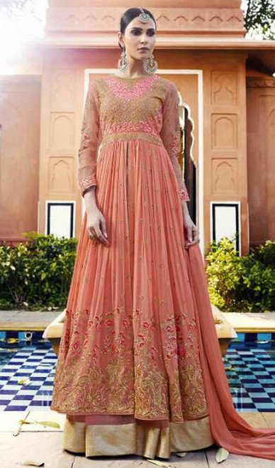 Orange Color Embroidered Georgette Lehenga Suit