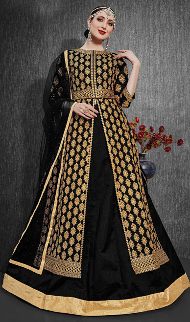 Silk Embroidered Designer Lehenga Suit in Black Color