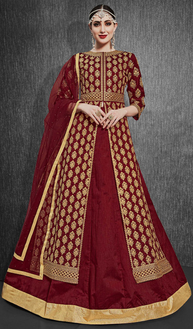 Silk Embroidered Designer Lehenga Suit in Maroon Color