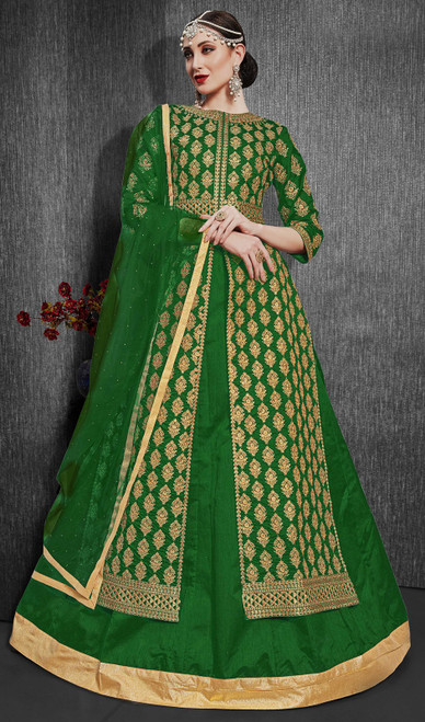 Silk Embroidered Designer Lehenga Suit in Green Color