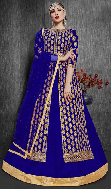Silk Embroidered Designer Lehenga Suit in Royal Blue Color