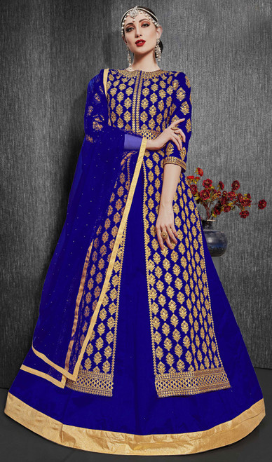 Silk Embroidered Designer Lehenga Suit in Royal Blue Color