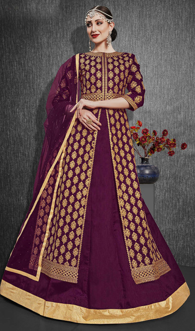 Silk Embroidered Designer Lehenga Suit in Purple Color