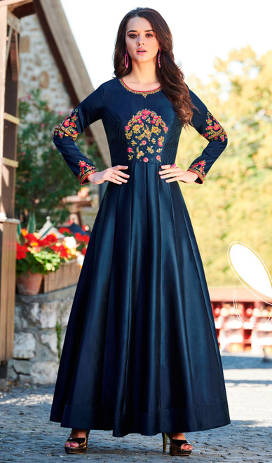 Navy Blue Color Maslin Embroidered Gown