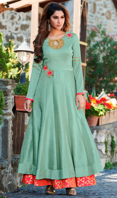 Sea Green Color Maslin Embroidered Gown