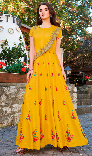 Yellow Color Maslin Embroidered Gown
