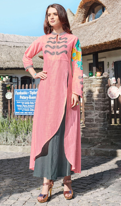 Baby Pink Color Rayon Embroidered Long Tunic Top
