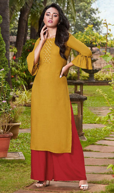 Yellow Color Rayon Fancy Kurti With Palazzo