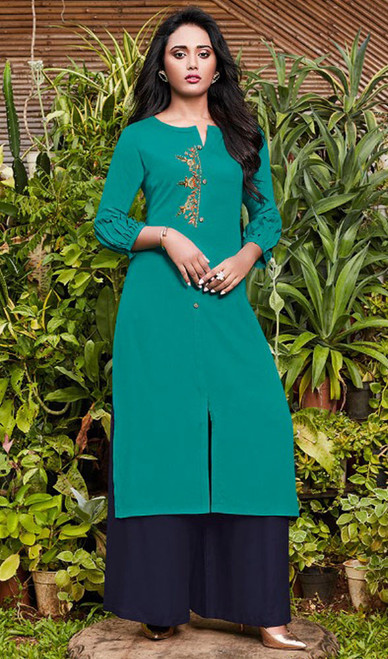 Rama Green Color Rayon Fancy Kurti With Palazzo