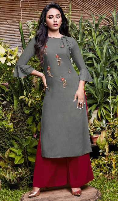 Gray Color Rayon Fancy Kurti With Palazzo