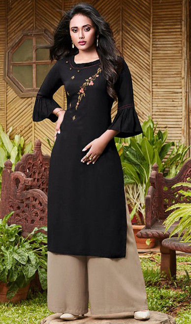 Black Color Rayon Fancy Kurti With Palazzo