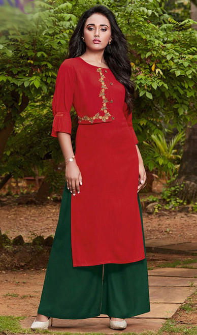 Red Color Rayon Fancy Kurti With Palazzo