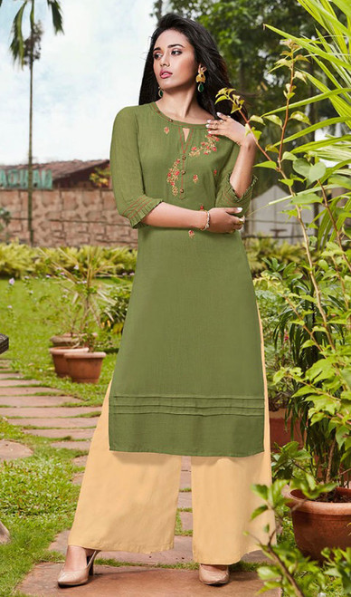Olive Color Rayon Fancy Kurti With Palazzo