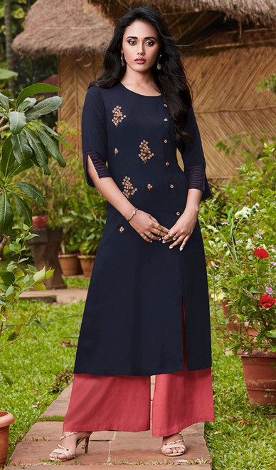 Navy Blue Color Rayon Fancy Kurti With Palazzo